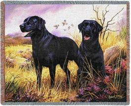 70x53 Black Lab Labrador Dog Jacquard Throw Blanket - $60.00
