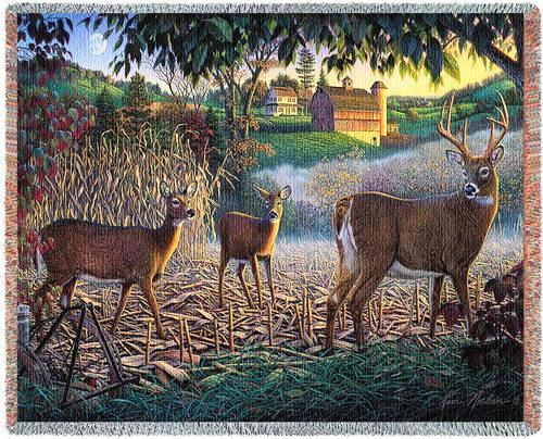 70x53 DEER Buck Doe Farm Tapestry Throw Blanket Afghan