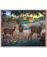 70x53 DEER Buck Doe Farm Tapestry Throw Blanket Afghan - $60.00