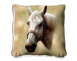 "17"" Large White QUARTER HORSE Pillow Cushion Tapestry - $32.50"