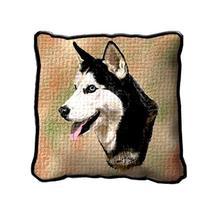 "17"" Large SIBERIAN HUSKY Dog Pillow Cushion Tapestry - $32.50"