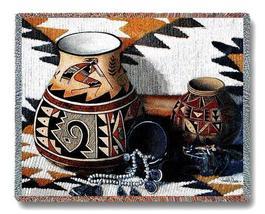 "70"" KOKOPELLI Pottery Southwest Afghan Throw Blanket  - $49.95"