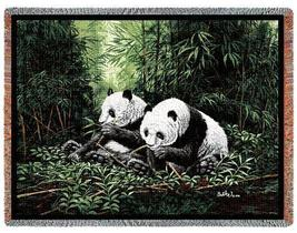 70x53 PANDA BEAR Wildlife Tapestry Throw Blanket Afghan - $60.00