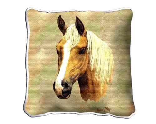 "17"" Large PALOMINO HORSE Pillow Cushion Tapestry"