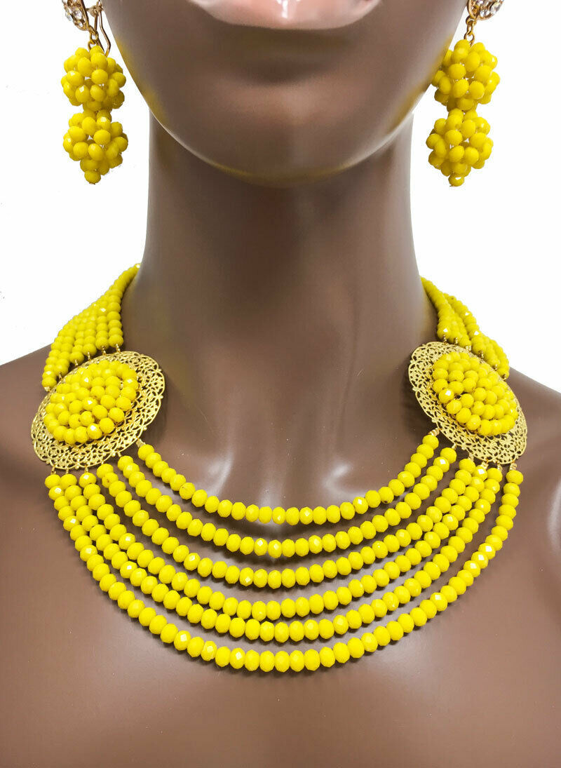 Primary image for Cleopatra/Nigerian African Style Necklace Earrings Bracelet Set Yellow Beads