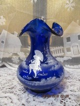 """Fenton Glass 2005 Cobalt Blue Mary Gregory Style 7"""" Ruffle Top Vase Hp & Signed - $85.00"""