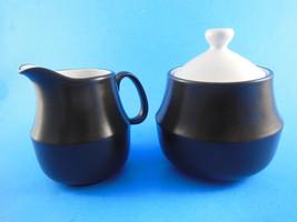 Mid Century NuStone Sugar Bowl & Creamer Brown & White Ceramic Guild Japan - $17.81