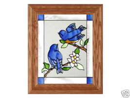 10x12 BABY BLUEBIRDS Stained Art Glass Framed Suncatcher  - $40.00