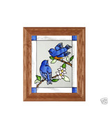 10x12 BABY BLUEBIRDS Stained Art Glass Framed S... - $34.50