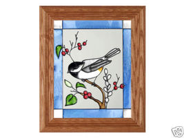 10x12 CHICKADEE Bird Stained Art Glass Framed Suncatcher  - $40.00