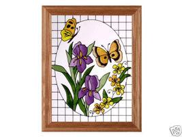 13x16 BUTTERFLY IRIS Floral Stained Art Glass Framed Suncatcher  - $50.00