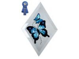 """9""""x6"""" Handpainted Glass Blue Butterfly Suncatcher - $16.50"""