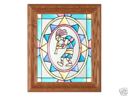 10x12 Stained Art Glass KOKOPELLI Southwest Wood Framed Suncatcher