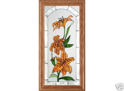 "22"" Stained Art Glass TIGER LILY Flowers Floral Wood Framed Suncatcher"