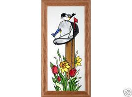 22x11 Stained Art Glass Birds On Mailbox Framed Wall Suncatcher  - $60.00