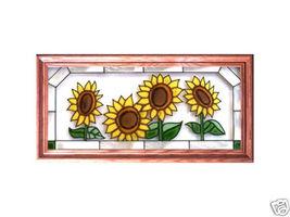 22X11 Stained Art Glass SUNFLOWERS Framed Suncatcher Panel - $60.00
