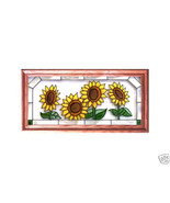 22X11 Stained Art Glass SUNFLOWERS Framed Suncatcher Panel - $52.00
