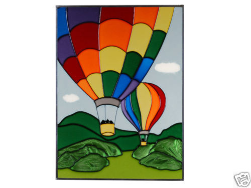 Primary image for 10x14 Stained Art Glass HOT AIR BALLOON Suncatcher Panel