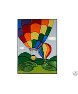 10x14 Stained Art Glass HOT AIR BALLOON Suncatcher Panel - $45.00