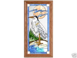 11x22 Stained Glass Heron Tropical Framed Suncatcher - $55.00