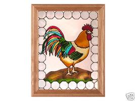 13x16 ROOSTER Chicken Stained Art Glass Framed Suncatcher - $50.00