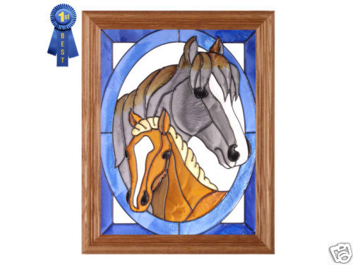 13x16 HORSE & COLT Stained Art Glass Framed Wall Suncatcher