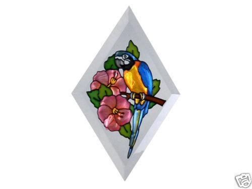 """9""""x6"""" Handpainted Glass PARROT Tropical Suncatcher Bird - $16.50"""