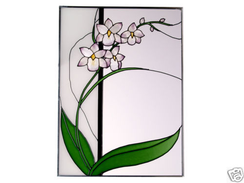 10x14 Stained Glass Floral Oriental ASIAN ORCHID Suncatcher