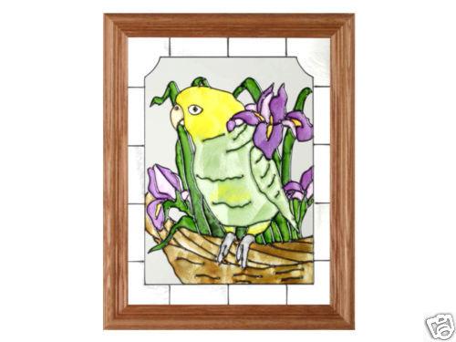13x16 AMAZON PARROT Tropical Stained Art Glass Framed Suncatcher  - $50.00