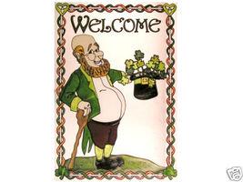 14x20 Stained Art Glass Irish LEPRECHAUN Welcome Hanging Suncatcher - $70.00