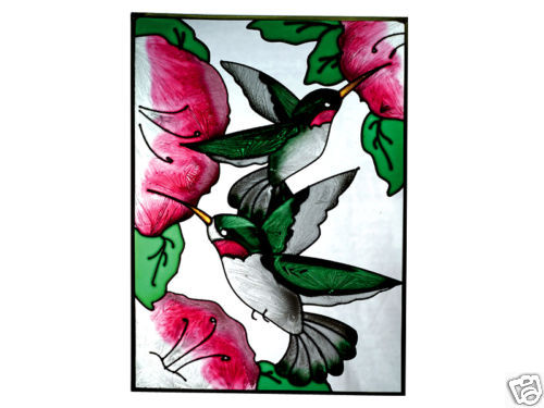 10x14 HUMMINGBIRD Hibiscus Floral Stained Art Glass Suncatcher