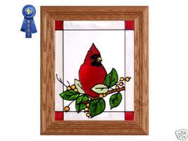 10x12 CARDINAL Berries Stained Art Glass Framed Suncatcher  - $40.00