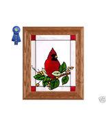 10x12 CARDINAL Berries Stained Art Glass Framed Suncatcher  - $45.00