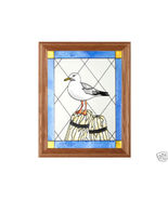 13x16 SEAGULL Bird Stained Art Glass Framed Suncatcher  - $50.00