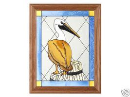 13x16 Stained Glass PELICAN Bird Framed Suncatcher  - $62.00