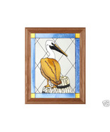 13x16 Stained Glass PELICAN Bird Framed Suncatcher  - $50.00