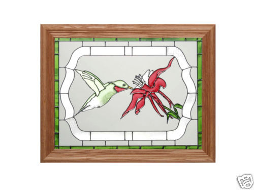 13x16 HUMMINGBIRD Floral Stained Art Glass Framed Suncatcher