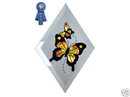 "9""x6"" Handpainted Glass Yellow Butterfly Suncatcher - $16.50"