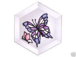 """5""""x5"""" Handpainted Glass Purple Butterfly Suncatcher - $15.00"""