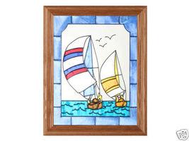13x16 SAILBOATS Ocean Stained Art Glass Framed Suncatcher  - $50.00