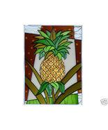 10x14 Stained Art Glass PINEAPPLE Fruit Hanging Suncatcher Panel - $45.00