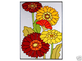 10x14 Stained Art Glass GERBERA DAISY Flower Floral Suncatcher  - $50.00