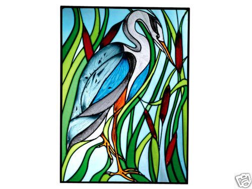 Primary image for 10x14 Stained Art Glass BLUE HERON Bird Suncatcher