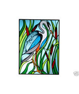 10x14 Stained Art Glass BLUE HERON Bird Suncatcher  - $45.00