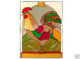 10x14 ROOSTER Chicken Stained Art Glass Suncatcher  - $50.00