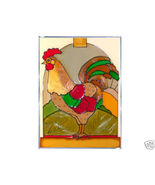 10x14 ROOSTER Chicken Stained Art Glass Suncatcher  - $45.00