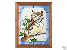13x16 SCREECH OWL Bird Stained Art Glass Framed Suncatcher  - $50.00