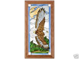 11x22 Stained Glass Flying Eagle Bird Framed Suncatcher - $55.00