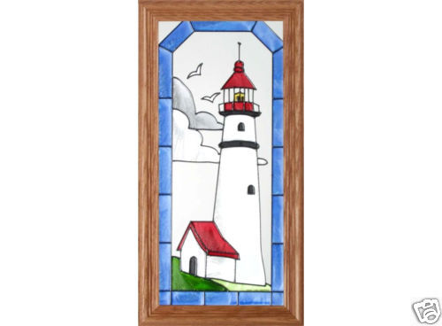 11x22 Stained Art Glass LIGHTHOUSE Wood Framed Hanging Suncatcher Panel