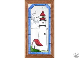 11x22 Stained Art Glass LIGHTHOUSE Wood Framed Hanging Suncatcher Panel - $65.00